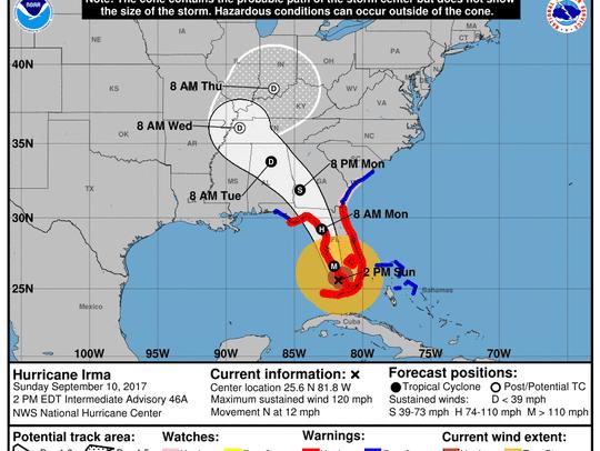 Hurricane Irma 2 p.m. Sept. 10, 2017