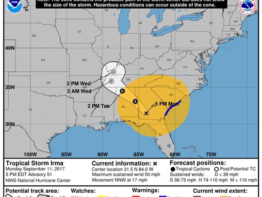 Tropical Storm Irma 5 p.m. Sept. 11, 2017