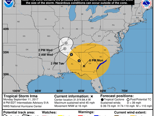Projected path of Tropical Storm Irma as of 8 p.m.