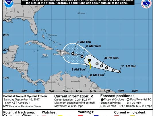 The forecast cone for Tropical Cyclone 15 as of 11 a.m. Saturday, Sept. 16, 2017.