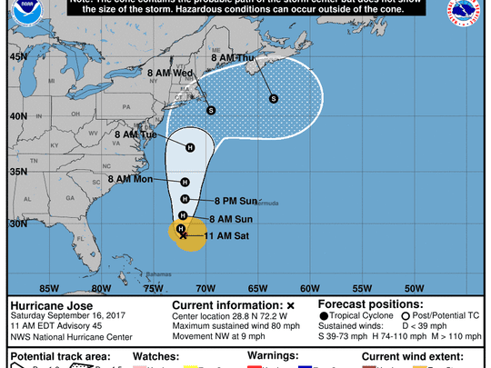 The forecast cone for Hurricane Jose as of 11 a.m. Saturday, Sept. 16, 2017.