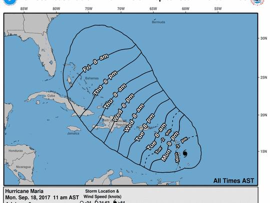 Hurricane Maria 11 a.m. Sept. 18, 2017