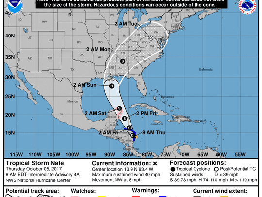 The forecasted path of Tropical Storm Nate as of 7 a.m. Thursday.