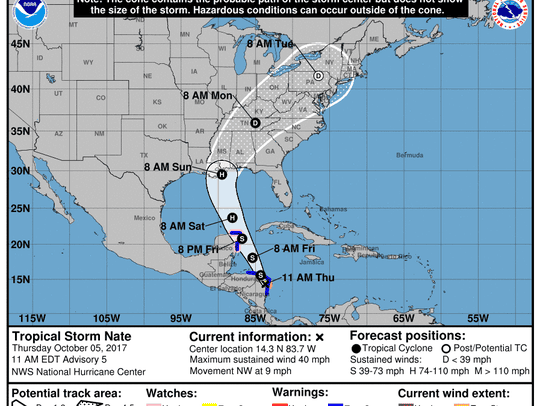 Tropical Storm Nate advisory from National Hurricane