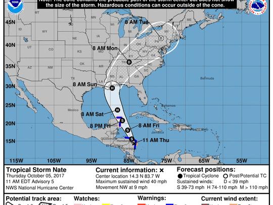 Tropical Storm Nate advisory from National Hurricane