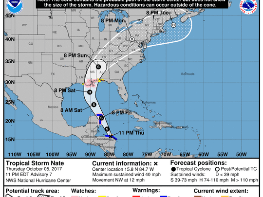 Projected path of Tropical Storm Nate as of 11 p.m. Thursday, Oct. 5, 2017.
