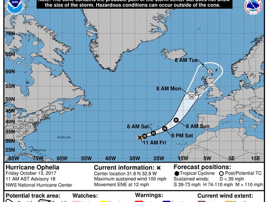 Hurricane Ophelia 11 a.m. Oct. 13, 2017.