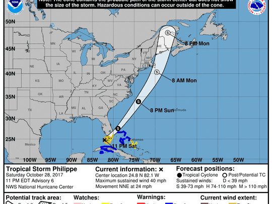 Tropical Storm Philippe 11 p.m. Oct. 28, 2017.