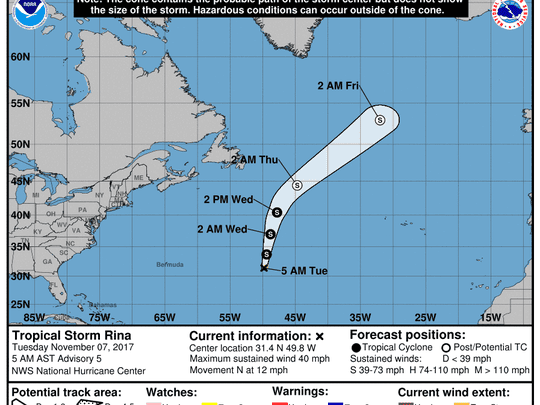 Tropical Storm Rina forms in the Atlantic.