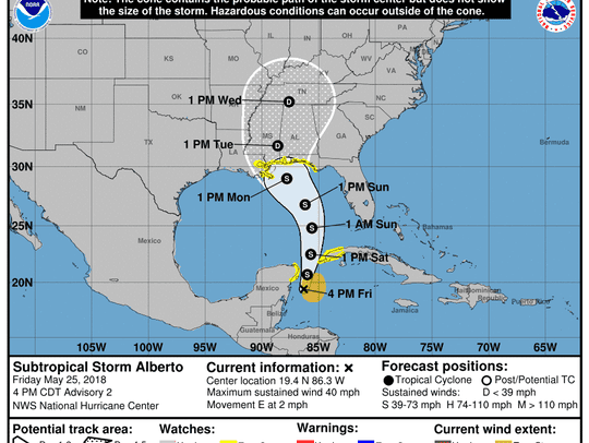 The latest forecast graphic on Subtropical Storm Alberto
