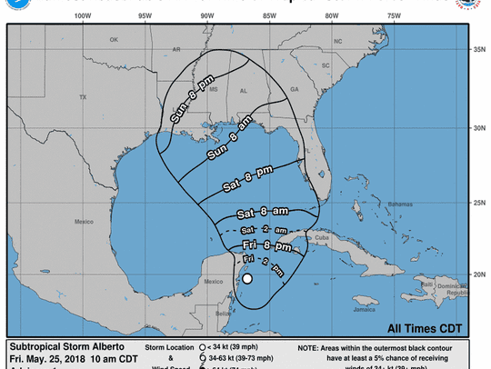 Subtropical Storm Alberto 2 p.m. May 25, 2018.