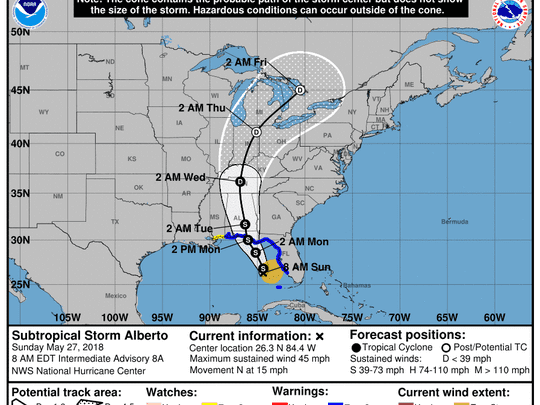 The National Hurricane Center's update on Subtropical Storm Alberto at 8 a.m. on Sunday, May 27, 2018.