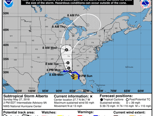 The National Hurricane Center's track for Alberto as