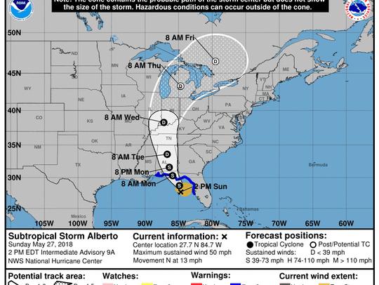 The National Hurricane Center's track for Alberto as