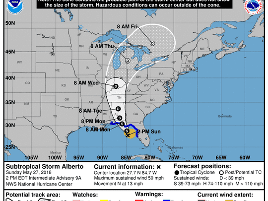 The National Hurricane Center's track for Alberto as of 2 p.m. on Sunday, May 27, 2018.