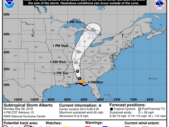 Projected path of Subtropical Storm Alberto, as of