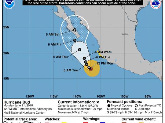 Hurricane Bud 3 p.m. June 11, 2018