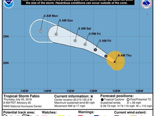 Tropical Storm Fabio 11 a.m. July 5, 2018.