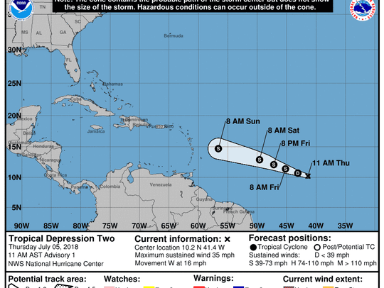 Tropical Storm Beryl forms 2:30 p.m. July 5, 2018.