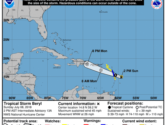A graphic from the National Hurricane Center shows the position and forecast track of Tropical Storm Beryl as of 2 p.m. Sunday, July 8
