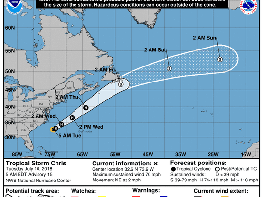 The anticipated track of Tropical Storm Chris Tuesday,