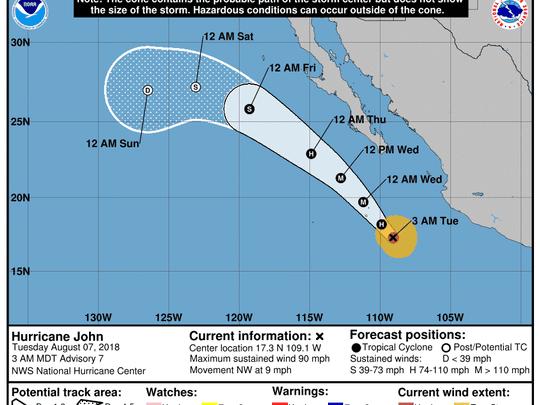 Hurricane John 5 a.m. Aug. 7, 2018.