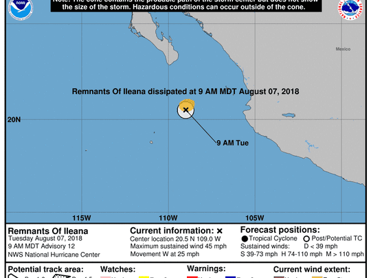 Remnants of former Tropical Storm Ilena 11 a.m. Aug. 7, 2018.