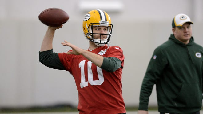 Green Bay Packers quarterback Matt Flynn throws during practice in the Don Hutson Center on Wednesday.