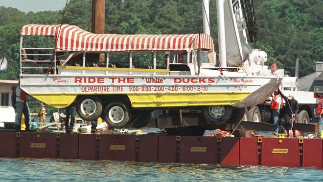 """The amphibious tourist boat """"Miss Majestic"""" that sank on Saturday, May 1, 1999 in Lake Hamilton near Hot Springs, Ark.  Thirteen people died.  Many were trapped under the boat's canopy."""