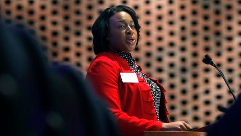 """A file photo of Mayor Lovely Warren speaking during the """"Revitalizing K-12 Education in Rochester"""" symposium at the Interfaith Chapel of the University of Rochester in February."""