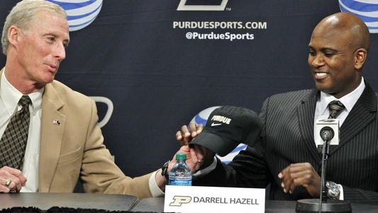 Purdue head football coach Darrell Hazell