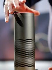 The new Amazon Echo Plus, shown at an event in Seattle.