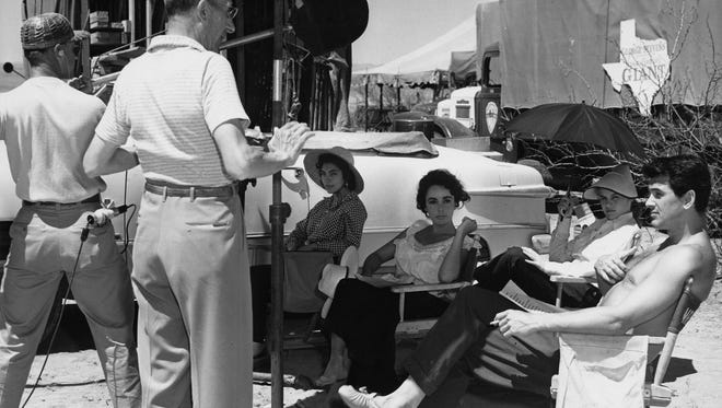 "Actors Elsa Cárdenas, seated from left, Elizabeth Taylor, Carroll Baker and Rock Hudson relax between takes during the filming of ""Giant"" in Marfa, Texas. Cárdenas is a special guest at this year's Plaza Classic Film Festival."