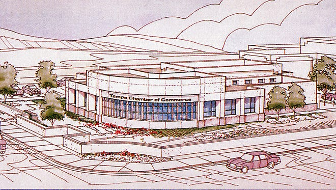 On February 3, 1996, Tempe architect Stu Siefer unveiled his design for the first dedicated home for the Tempe Chamber of Commerce. The building, featuring distinctive copper accents, will soon meet the wrecking ball, to be replaced by a CVS pharmacy.