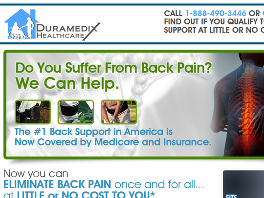 A picture of the website run by Duramedix Healthcare. Medicare paid the company more than $1 million for back braces in billing data analyzed by the Argus Leader.
