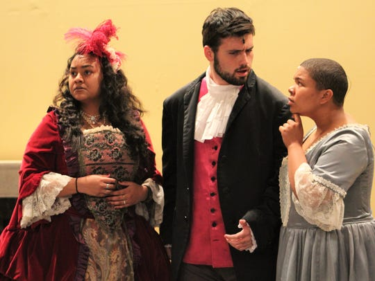 "From left: Countess Almaviva (Serayah Peters), Figaro (Aaron Hunt) and Susana (Sionna Williams), the woman he wants to marry, are central to the complex but funny plot to ""The Marriage of Figaro."""