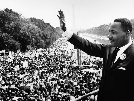 The Rev. Martin Luther King Jr. at the Mall in Washington on Aug. 28, 1963.