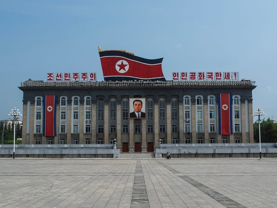 An undated photo of a government building in the capital of North Korea, Pyongyang.
