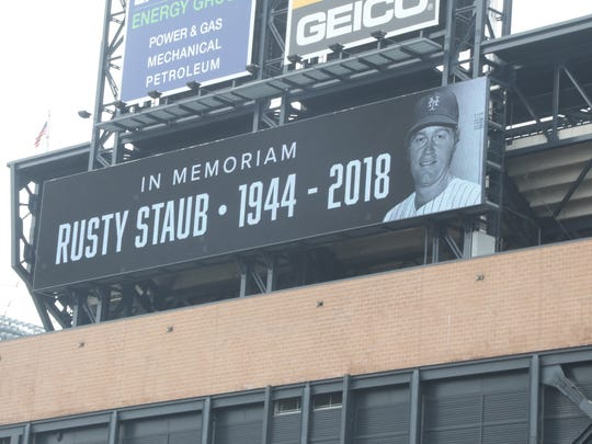 A video board outside CitiField recognizing the passing of former Met Rusty Staub.