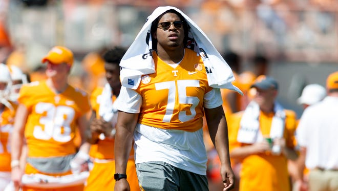 Vols offensive lineman Jashon Robertson (75) sat out Tennessee's game against UMass on Saturday, Sept. 23, 2017.