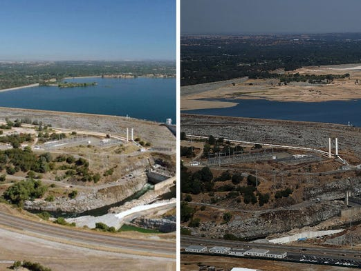 Full water levels are visible behind the Folsom Dam at Folsom Lake on July 20, 2011, in Folsom, Calif. Low water levels are shown on Aug. 19  in Folsom, Calif.