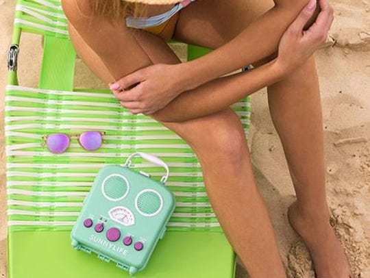 The colorful Sunnylife Beach Sounds speaker is waterproof