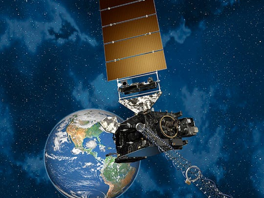 An artist's conception of the GOES-R satellite in orbit