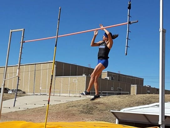 Lake View High School's Veronica Diaz comes down on