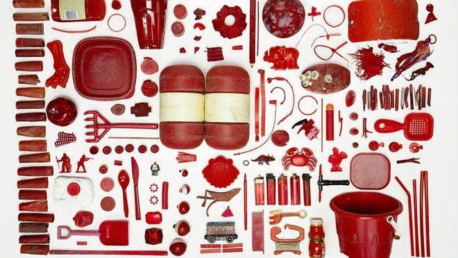 Beached Red, by Yarmouth photographer Sarah Thornington, displays found objects to call attention to area beach litter.