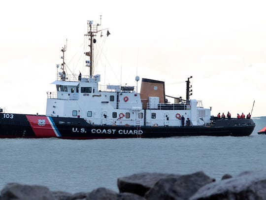 A U.S. Coast Guard Cutter is pictured during a training exercise near McKinley Marina in 2017.