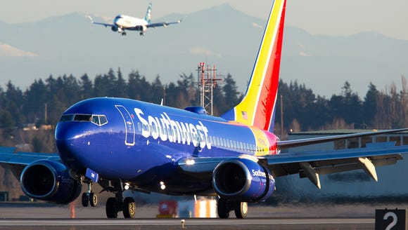 A Southwest Airlines Boeing 737 lands at Seattle-Tacoma
