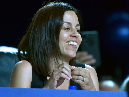 UAW Vice President Cindy Estrada smiles as she is nominated