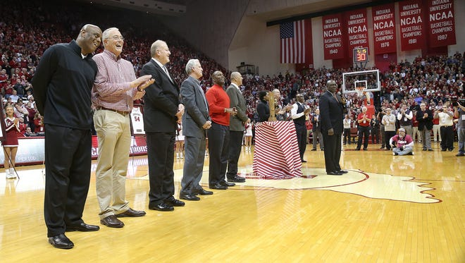 The 1976 NCAA champion Indiana Hoosiers were honored at halftime on Tuesday.
