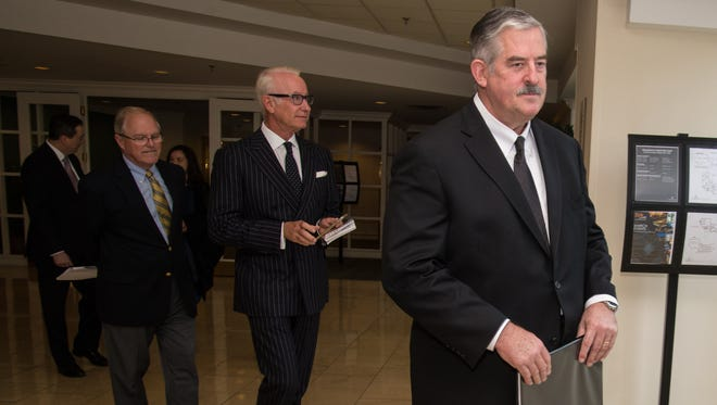 Nashville Area Chamber of Commerce CEO Ralph Schulz, left, and developers Dene Oliver and Pat Emery arrive for last week's announcement of the redevelopment agreement for the Nashville Convention Center.